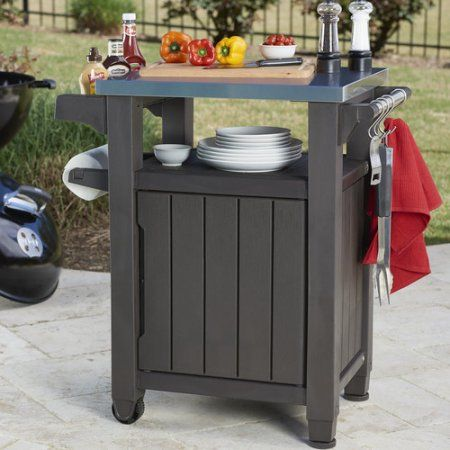 keter unity resin serving station all weather plastic and metal grill storage and prep table on zink outdoor kitchen id=12632