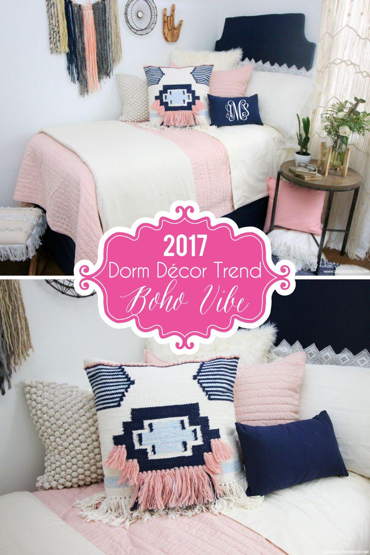 Dorm Room Furniture: Pink & Navy Boho Dorm Bedding Set