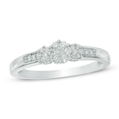 Zales 1/5 CT. T.w. Diamond Flower Cluster Bypass Promise Ring in 10K White Gold VXEZz82qh