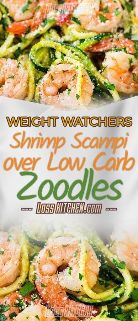 Skinny Shrimp Scampi over Low Carb Zoodles – Loss KITCHEN #easyshrimprecipes