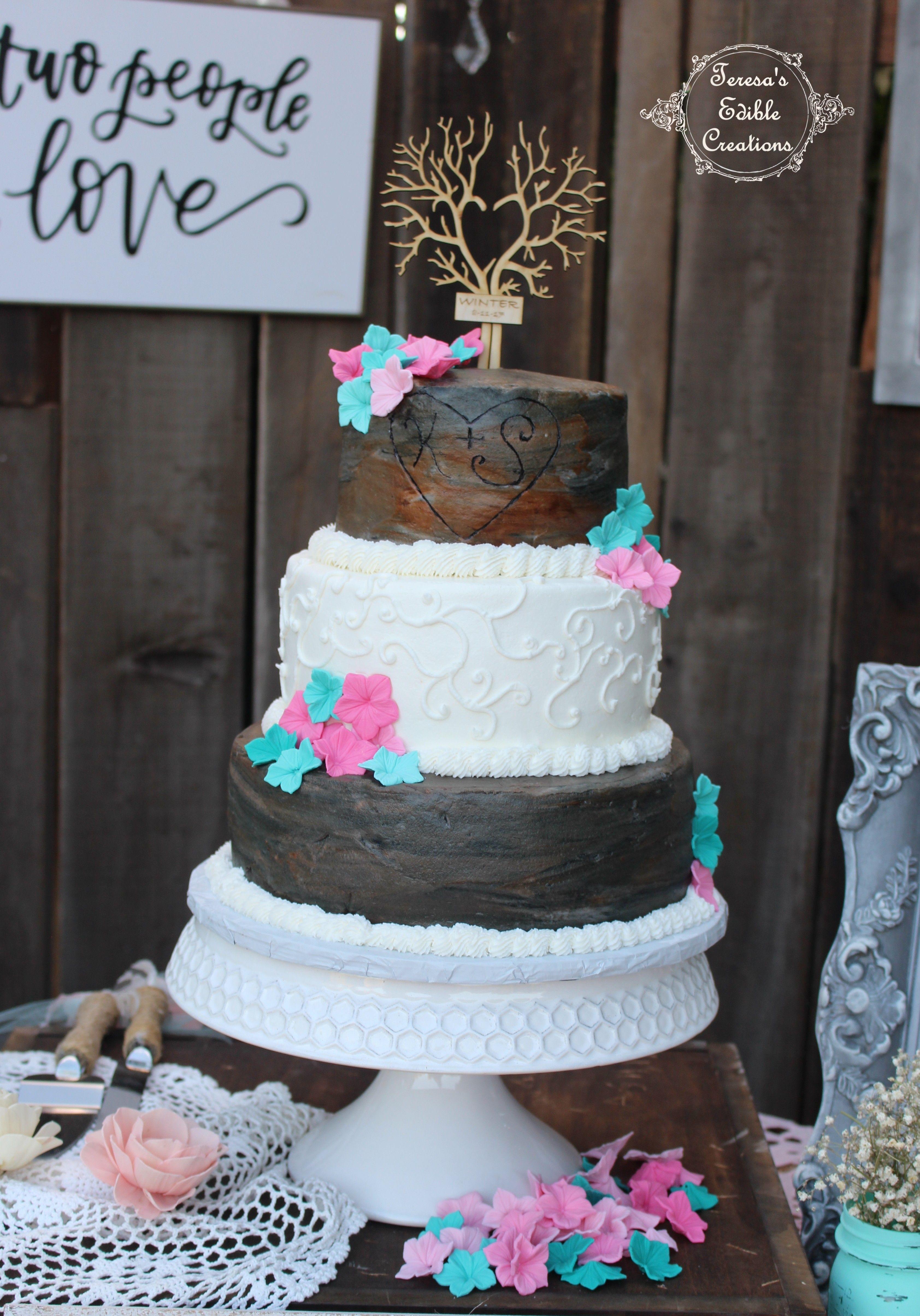 Wedding Caketree Bark With Engraved Heart My Cake Creations - Wedding Cake Tree Bark