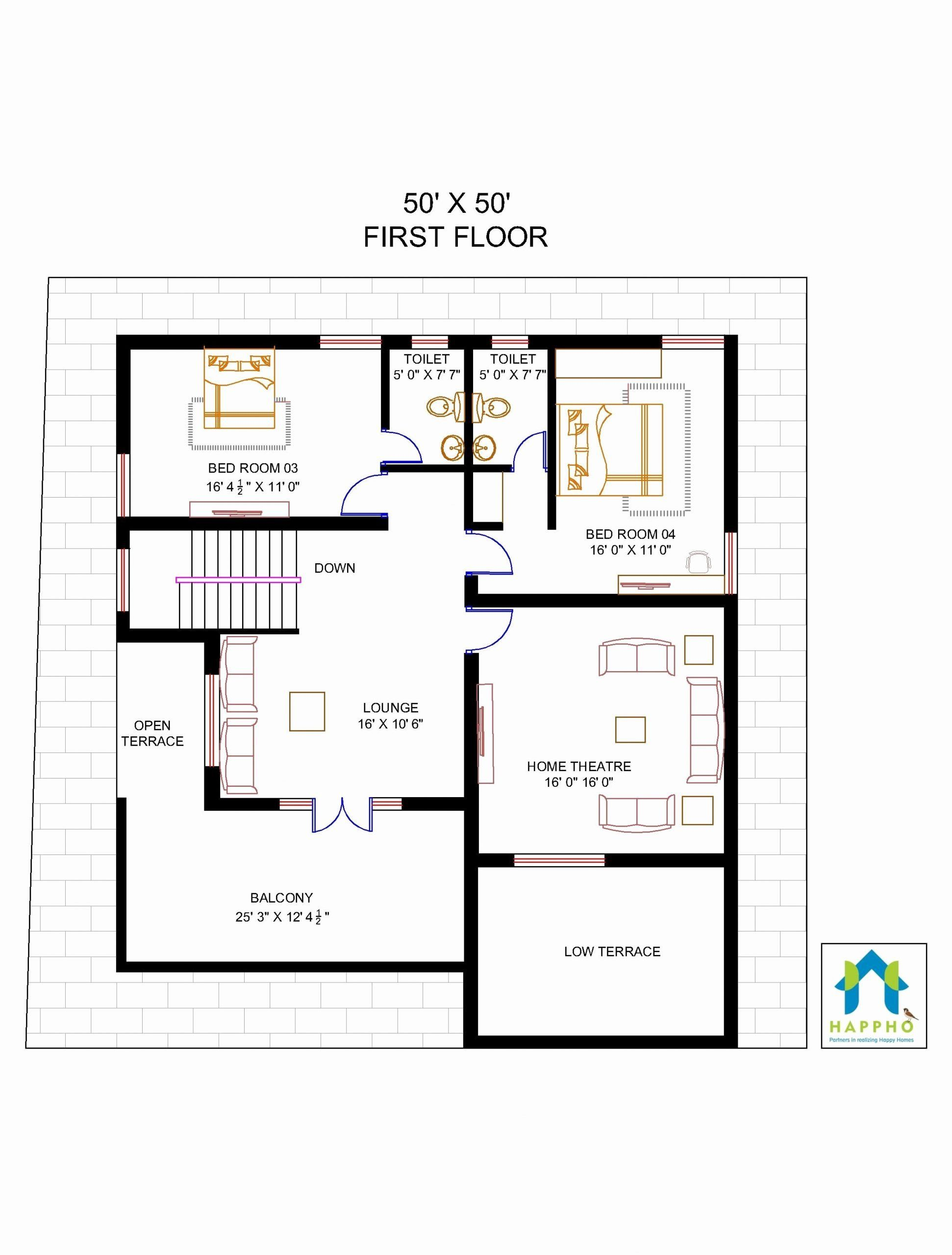 50 X 50 House Plans Elegant Floor Plan For 50 X 50 Plot Unique Floor Plans House Plans Floor Plans