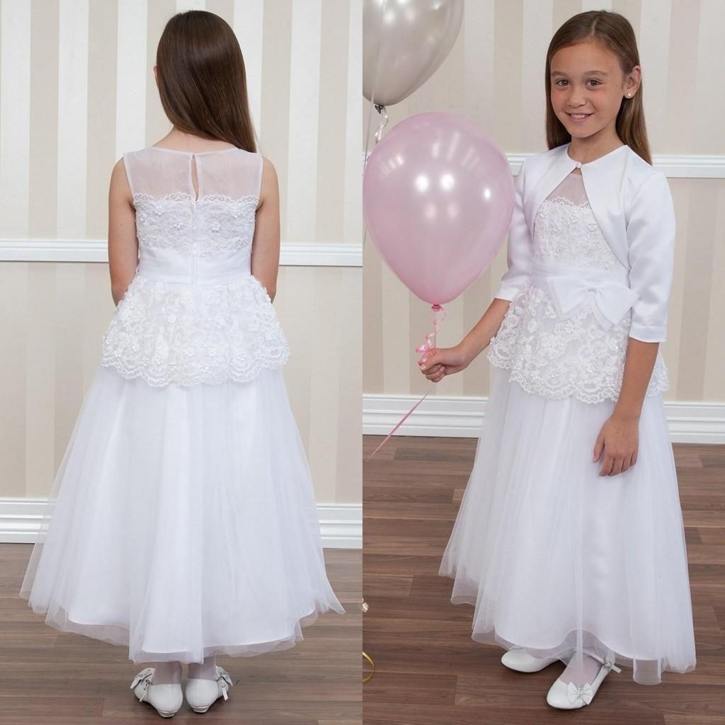 Amazing white ivory lace flower girl dresses for wedding