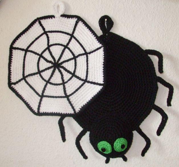 Häkelanleitung Topflappen Spinne und Netz | Produkte, Halloween und ...