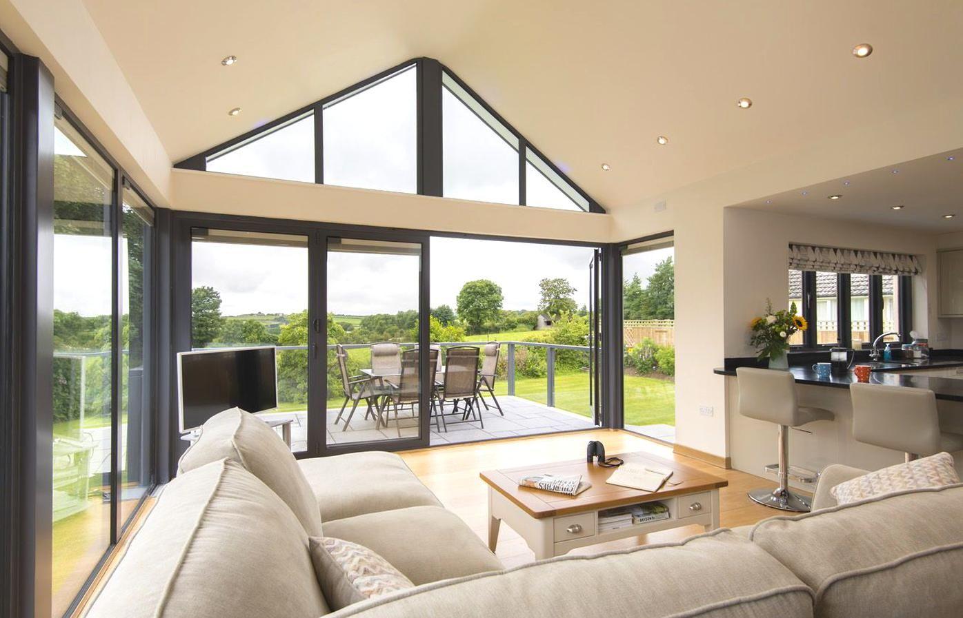 Aluminium Gable Window Open Plan Kitchen Living Room Open Plan Living Room House Extension Design