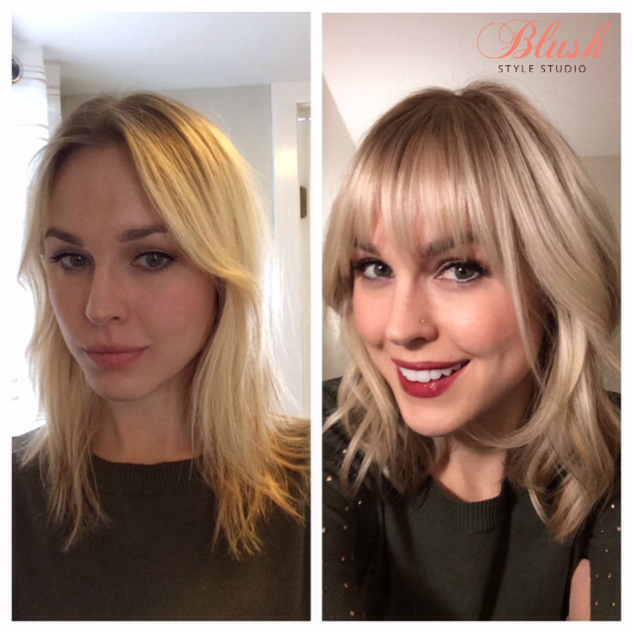 Before and after with bangs, hairstyle, blonde highlights
