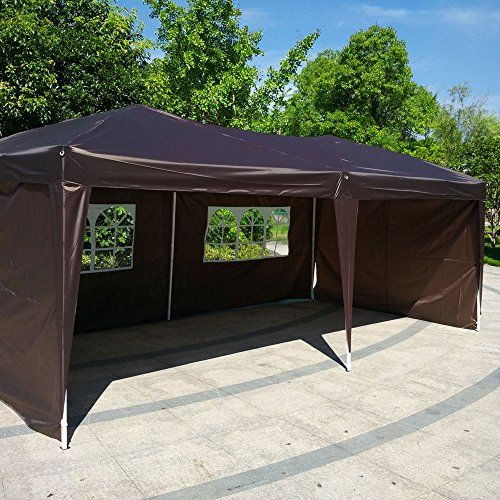 Z Ztdm 10x20 Ft 4 Walls Outdoor Canopy Camping Party Waterproof Shade Instant Gazebo Folding Tent Dark Coffe Canopy Tent Outdoor Canopy Outdoor Car Canopy Tent