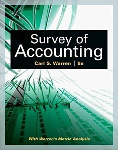 survey of accounting 8th edition by carl s warren isbn 13 978