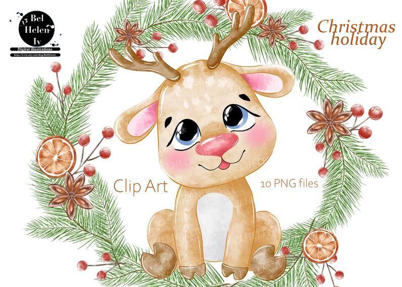 Christmas Clipart Cute Santa Clip Art Watercolor Santa Etsy Christmas Clipart Clip Art Holiday Artwork