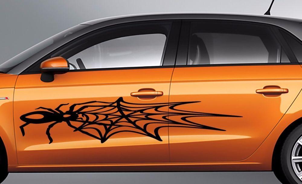 Large spider web car body suv vinyl stikers decals set