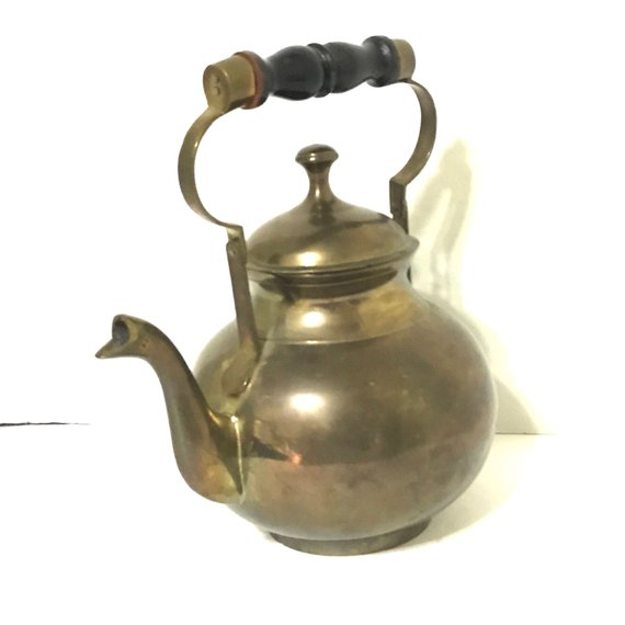 Antique Vintage Brass Teapot Kettle With Wooden Handle Other