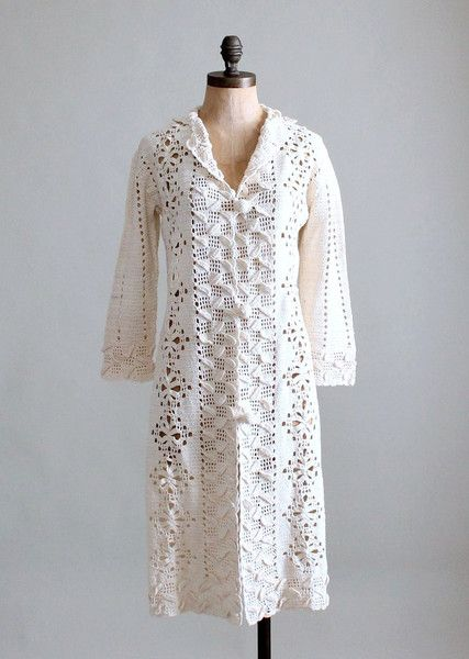 1970s crochet duster coat