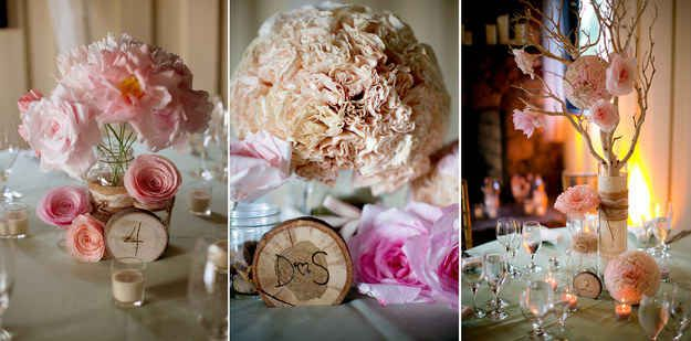 Carve initials and table numbers into pieces of firewood for a playful and rustic look: