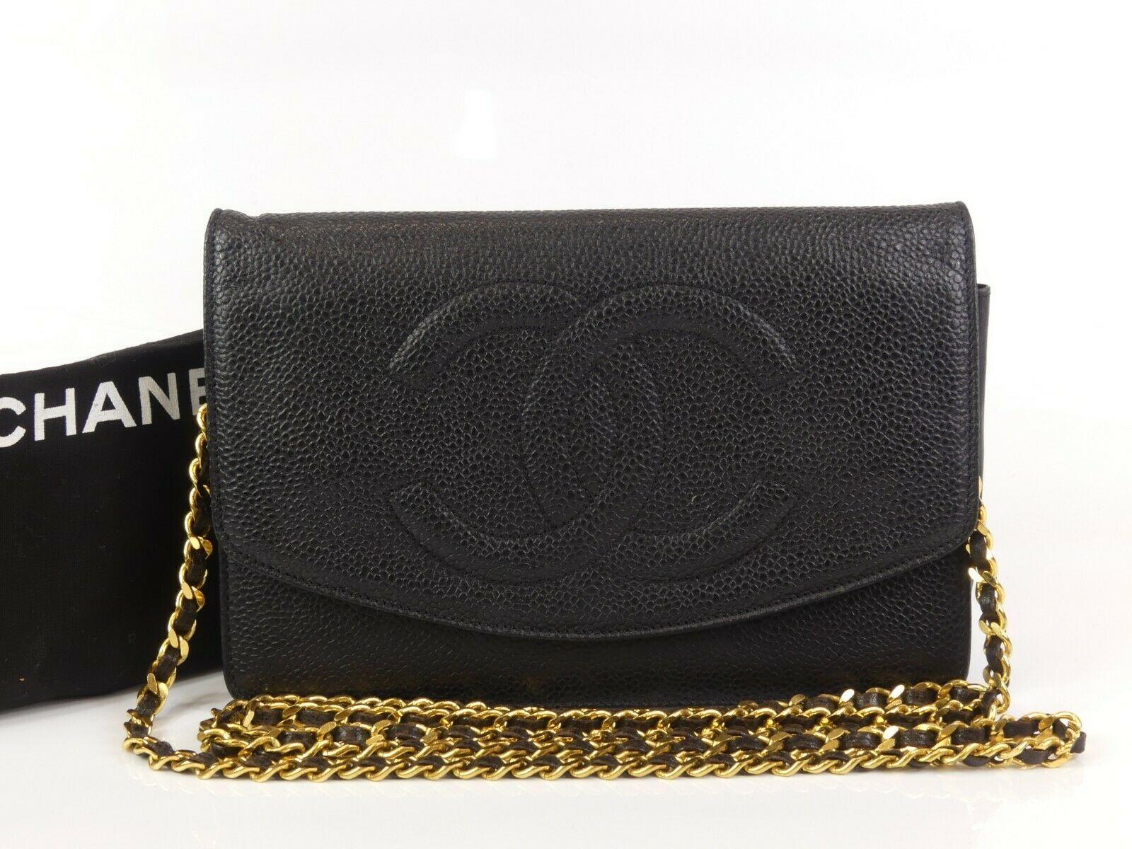 d14faac21c6f ra782 Auth CHANEL Black Caviar Skin CC Classic WOC Wallet On Chain Shoulder  Bag