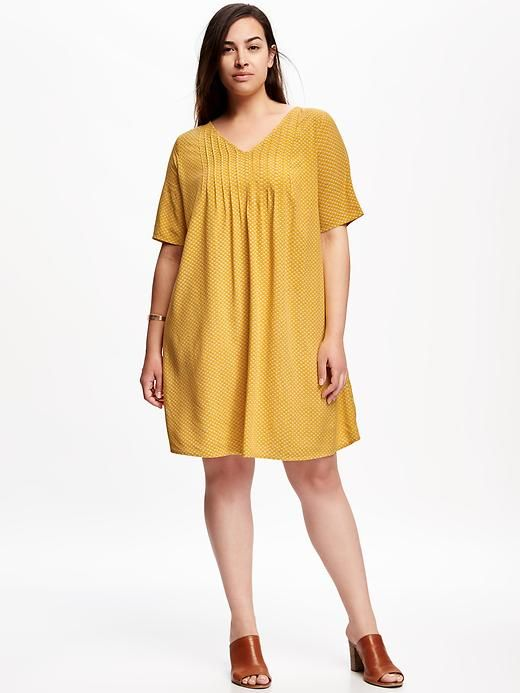 Pintuck Plus-Size Trapeze Dress | Dresses, Plus size dresses ...