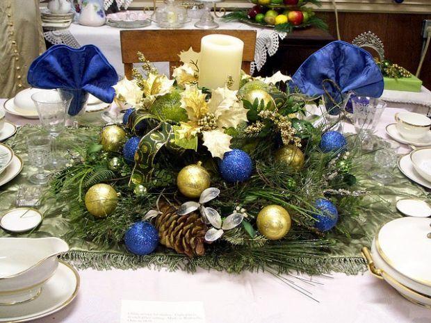 Decoracao De Natal Centro De Mesa Azul E Dourado Eu Decoro