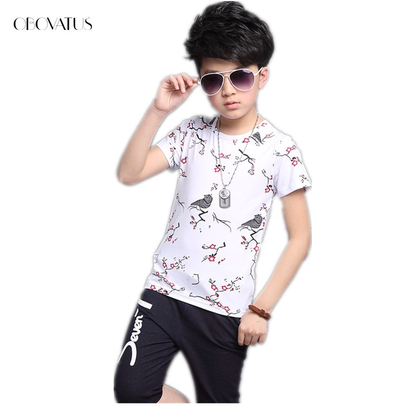 Click To Buy Kids Clothes Boys Chinese Flower Bird Painting Tee Shirt Shorts Summer Clothing Set 4 5 6 7 8 Summer Outfits Outfit Sets Kids Clothes Boys
