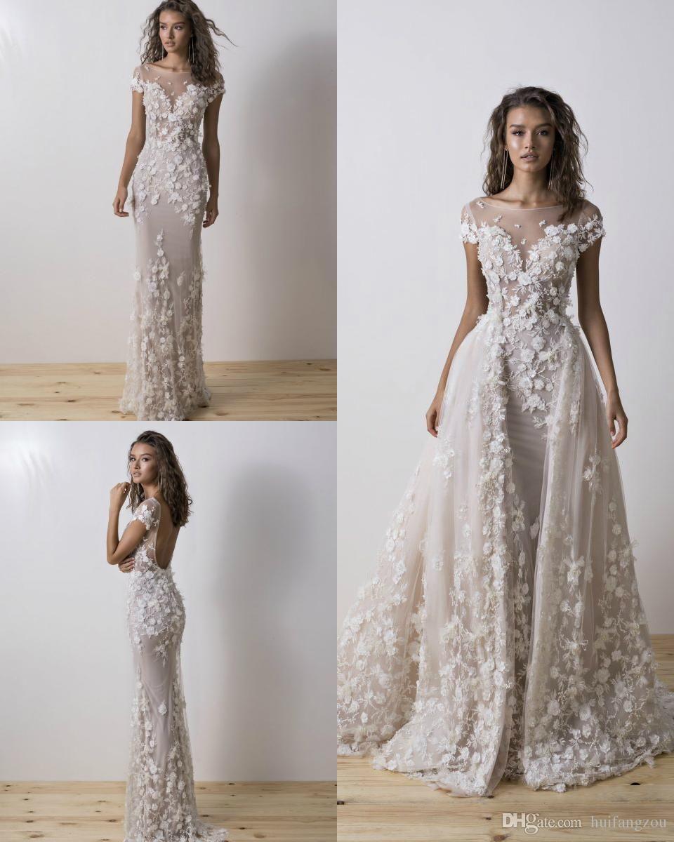 2019 beach wedding dresses detachable train 3d floral