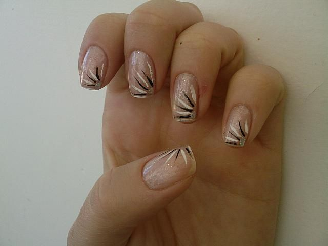 White glitter with black lines