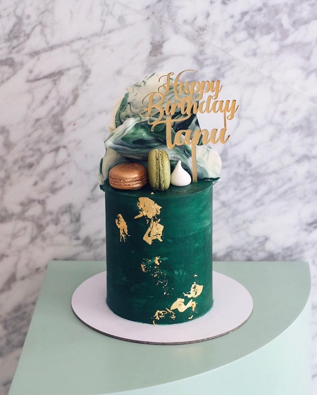 Emerald And Marble Elegant Cake Design Green Birthday Cakes