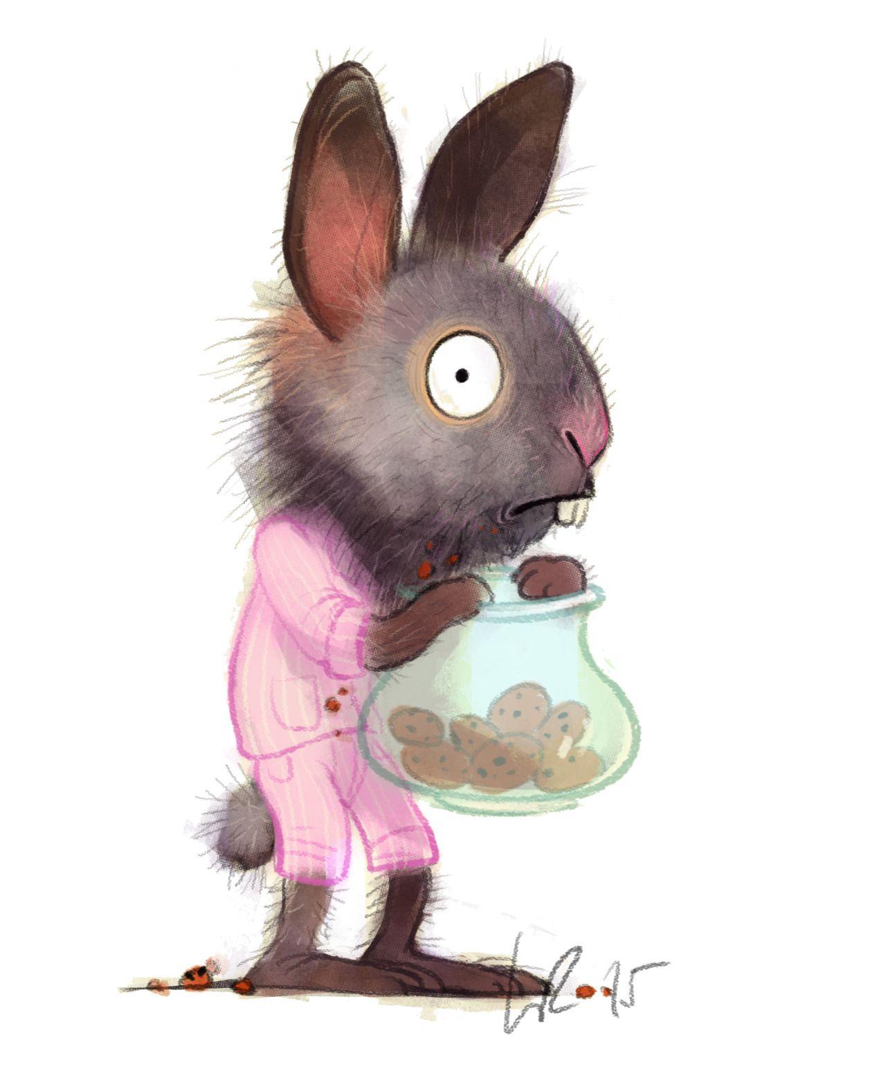 Поздравить, заяц рисованный смешной картинка