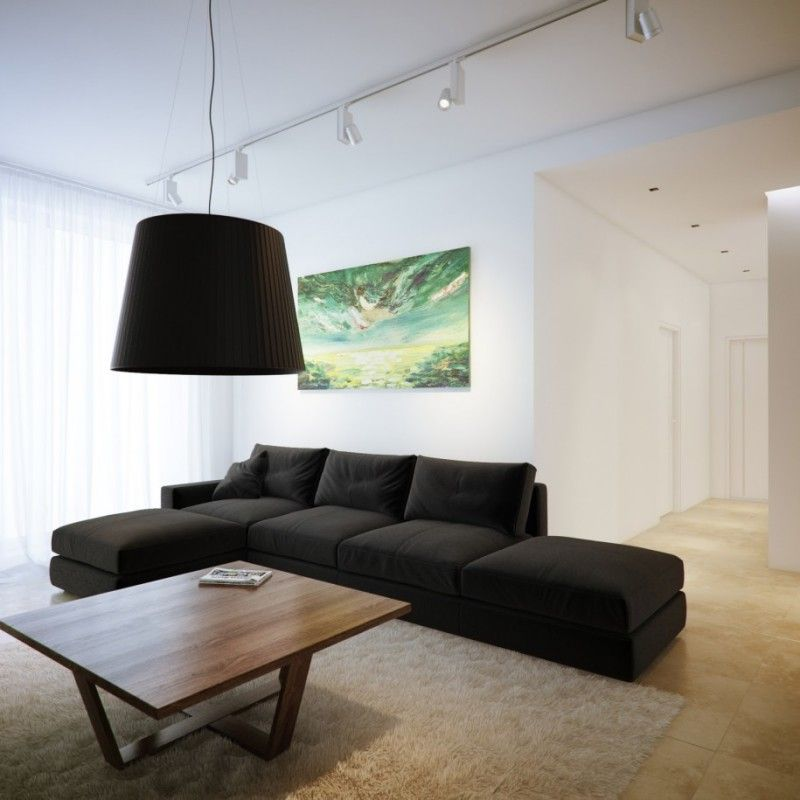 Black L Shaped Sofa Design With Pendant Lamp