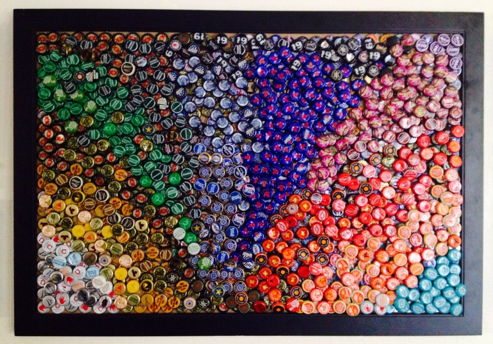 Beer Bottle Cap Wall Mural Funky And Colorful College Decor Made