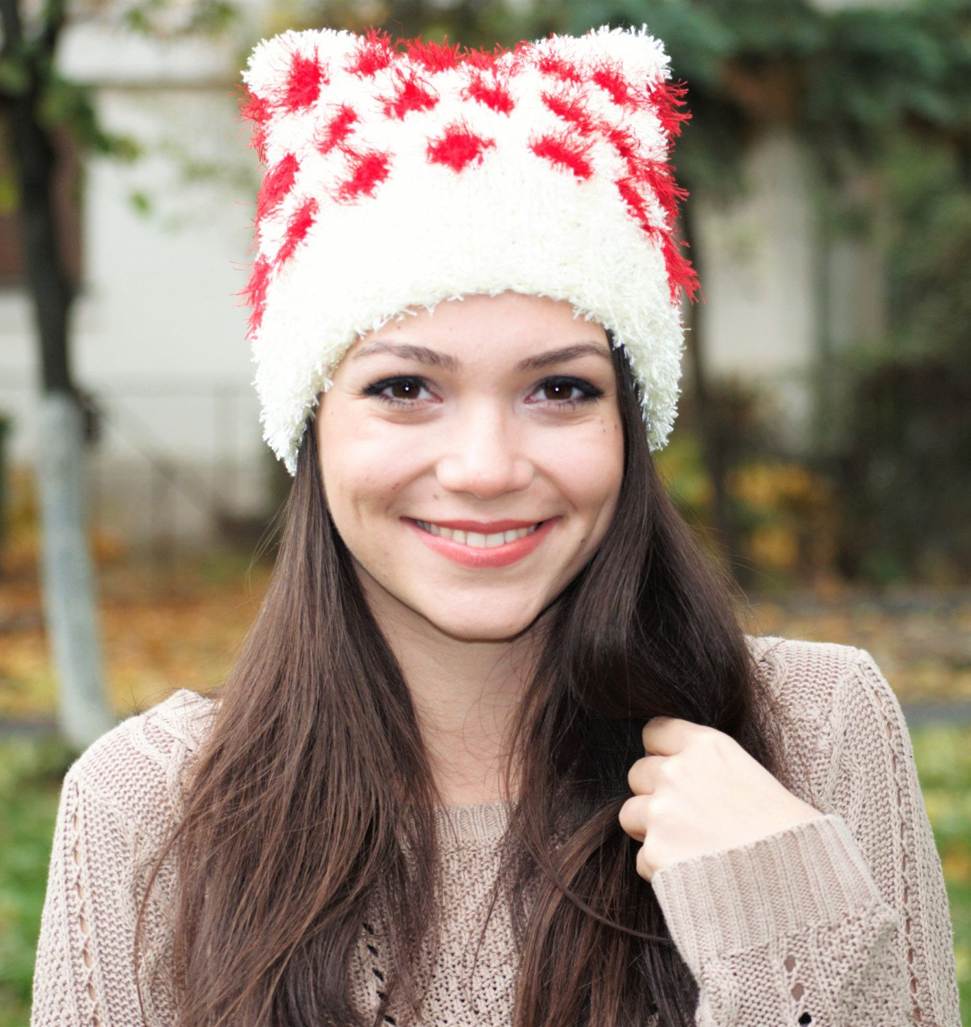 white and red super soft knit pussy cat ear womens hat, fluffy