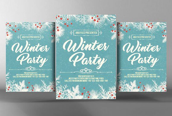 Winter Party Flyer Template by Business Templates on @Graphicsauthor
