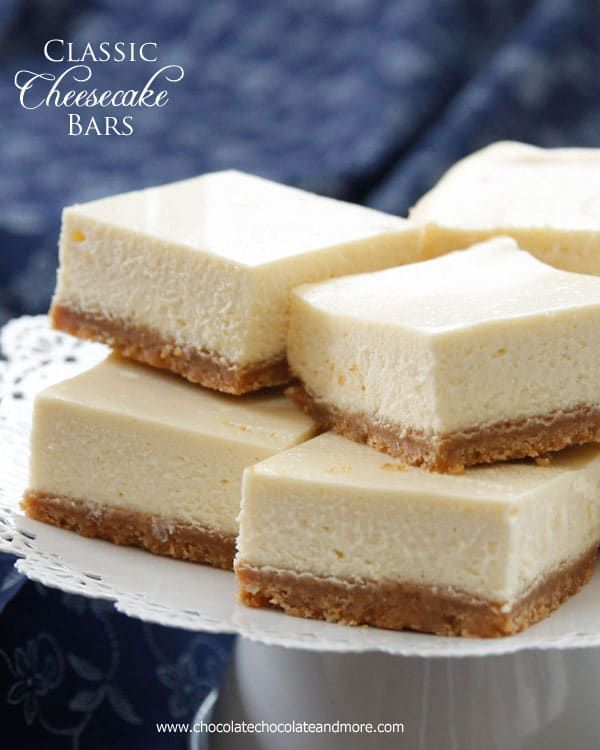 Classic Cheesecake Bars Chocolate Chocolate And More Recipe Sour Cream Recipes Cheesecake Recipes Cheesecake Bar Recipes