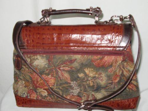 Mc Marc Chantal Purse Shoulder Bag Brown Multi Color Tapestry Fl Silver Hw Ebay
