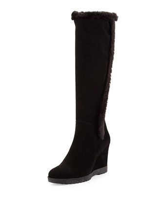 Shop Curran Suede Wedge Boot, Black from Aquatalia by Marvin K at Neiman  Marcus Last Call, where you'll save as much as on designer fashions.