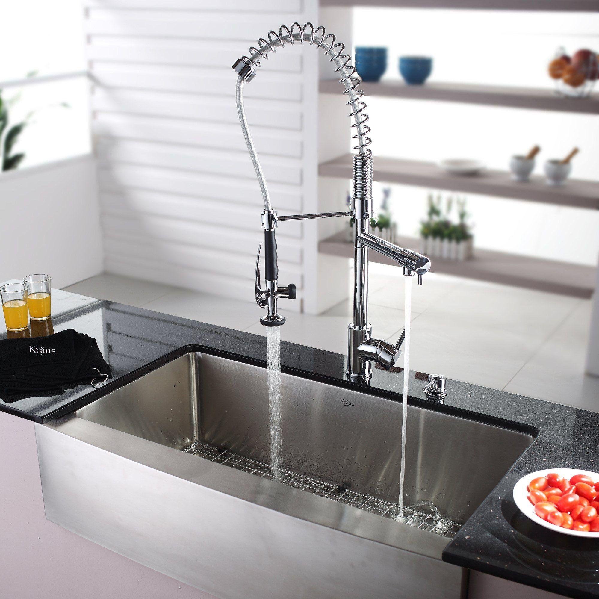 Kraus 36 X 21 Farmhouse Kitchen Sink With Faucet And Soap Dispenser Wayfair Farmhouse Sink Kitchen Best Kitchen Sinks Farmhouse Sink Faucet