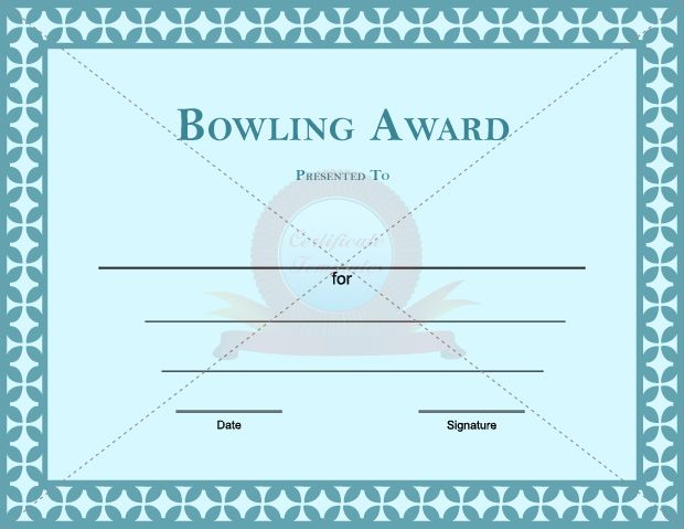 Bowling Award Template