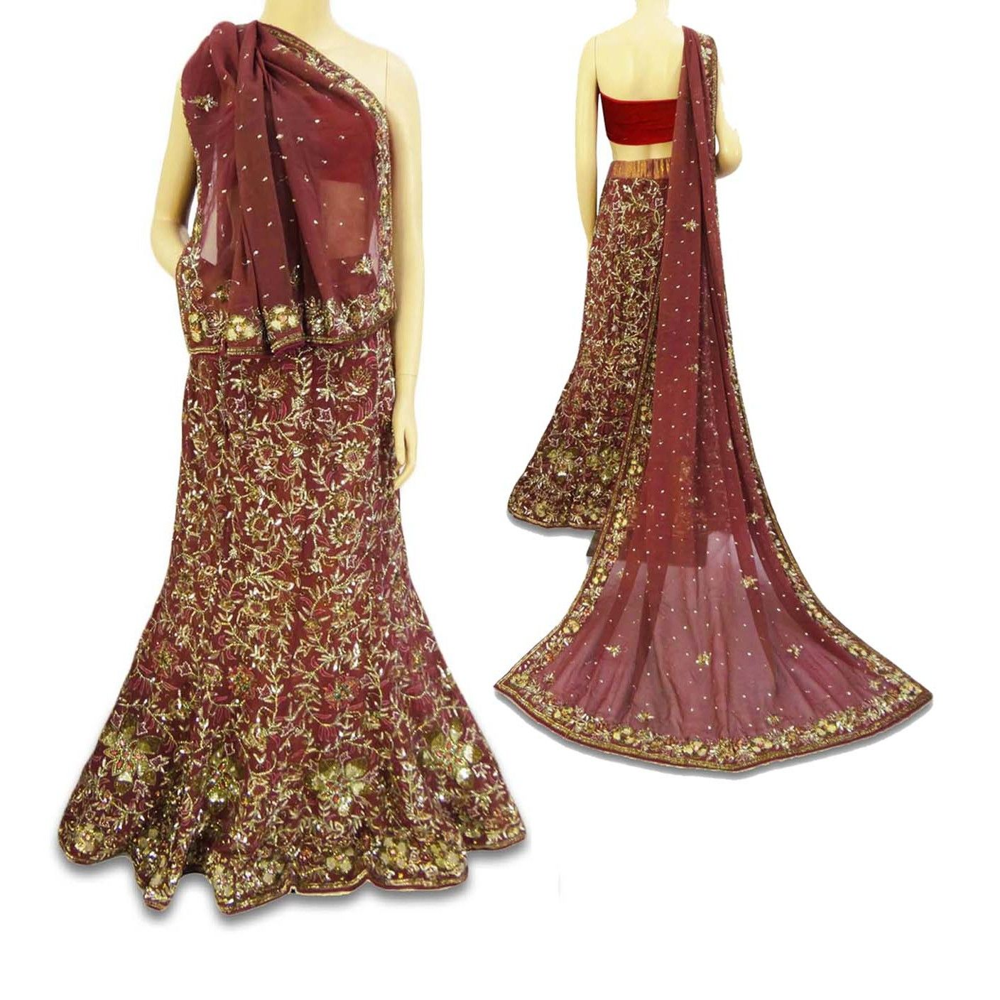 Wedding dresses asia  India vintage bridal lehenga and dupatta silk georgette with heavy