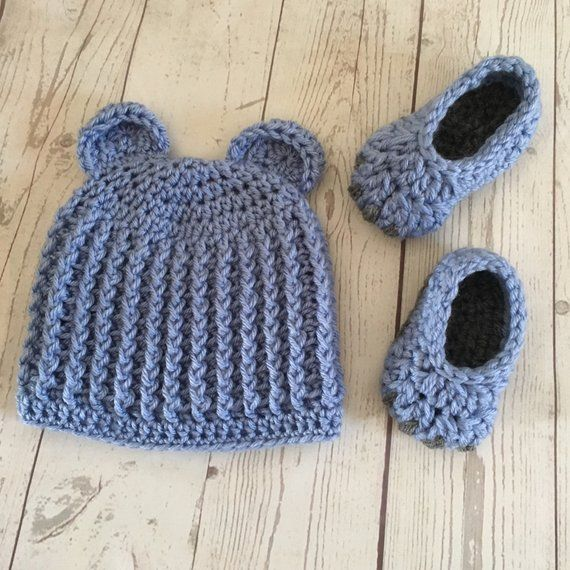 17d7ed7299d Baby Bear Hat and Booties Crochet Bear Blue Gray Hat Slippers Baby Gift Set  Fits 6-9 months