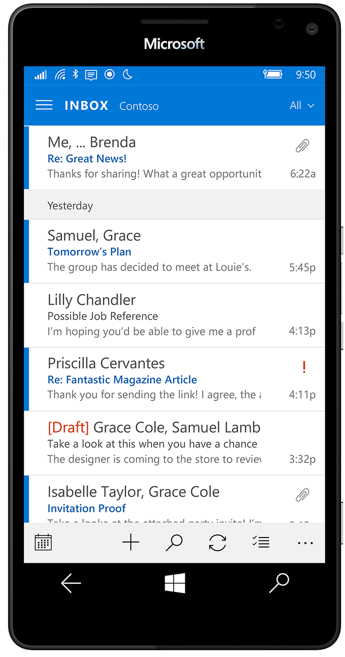 Windows Phone with Outlook app  | Interface | Windows phone, Windows