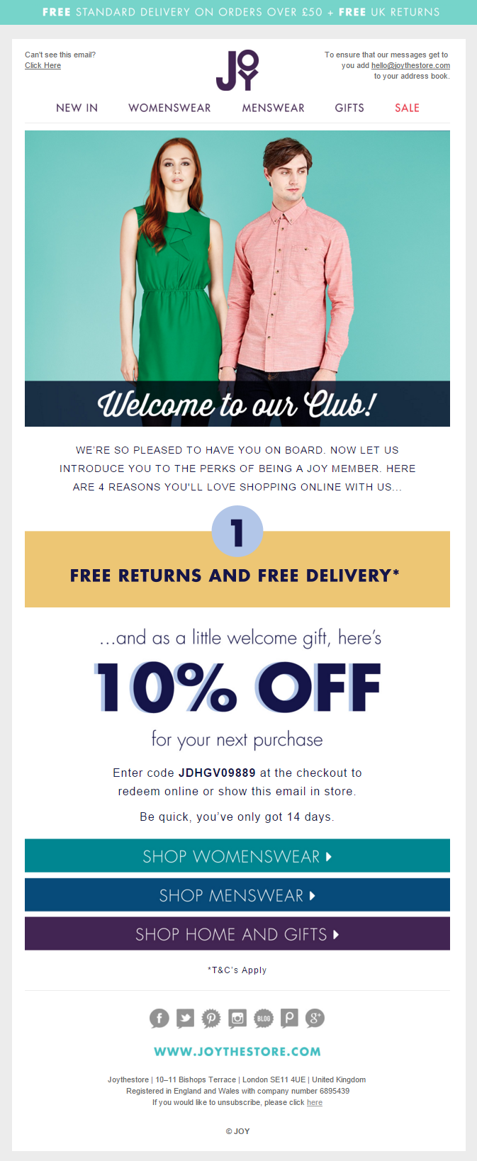 Joy welcome email offering 10 off with coupon code free returns joy welcome email offering 10 off with coupon code free returns and free delivery fandeluxe Image collections