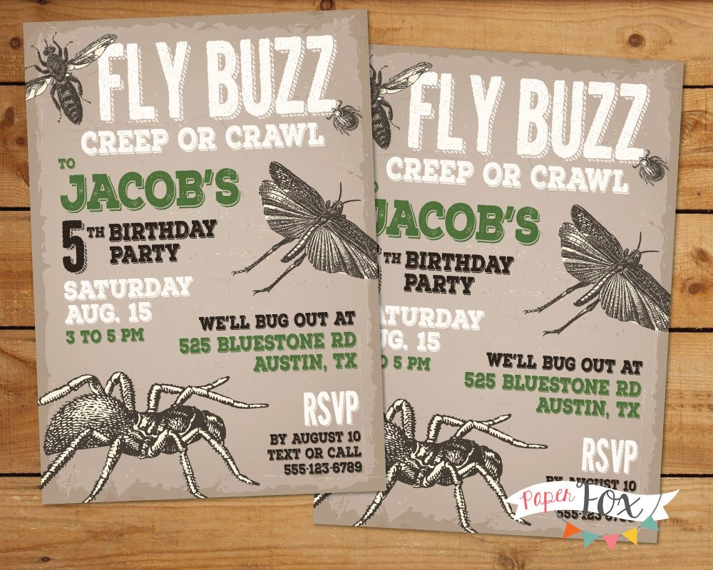 Insect Birthday Invitation / Insect Birthday Party / Boy