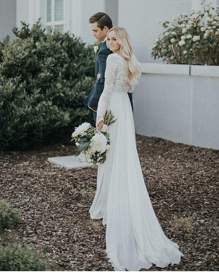 Mormon Wedding Dresses Half Sleeves   Brautkleid schlicht ...