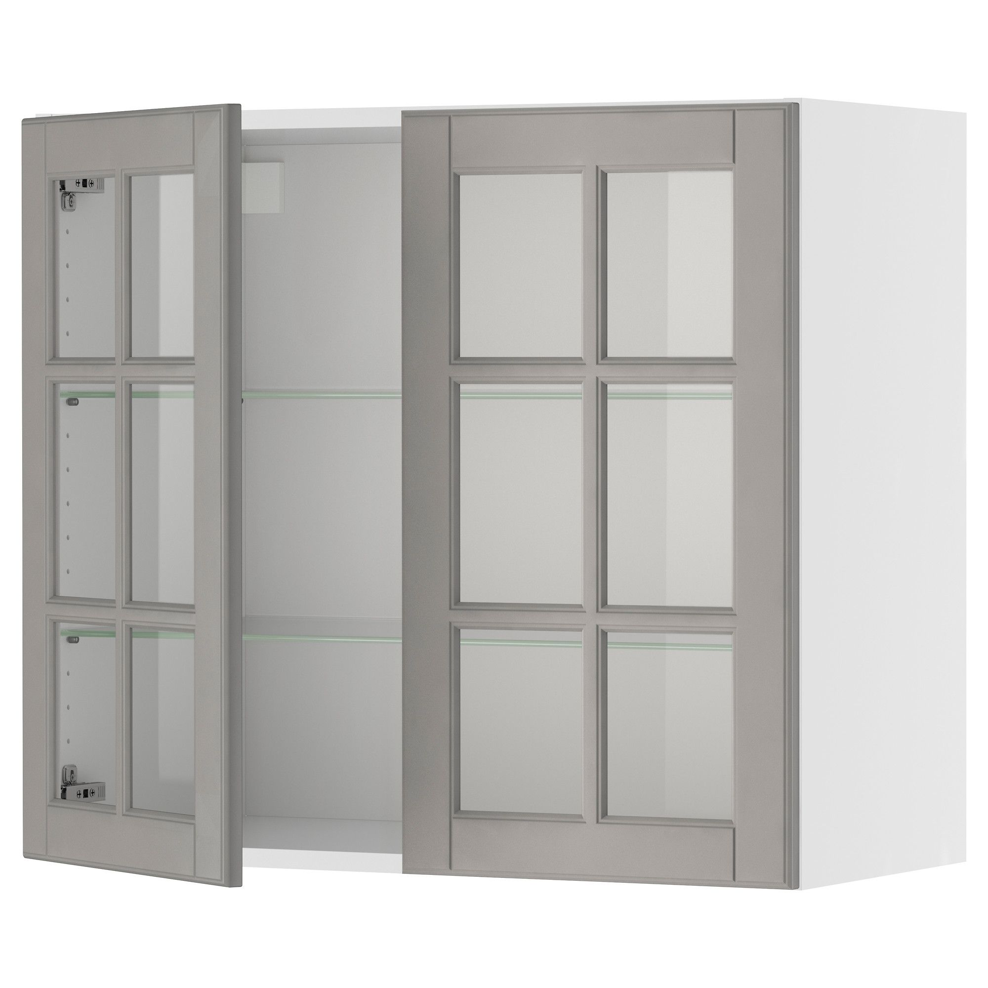 AKURUM Wall Cabinet With 2 Glass Doors   White, Lidi Gray, 36x39  Part 36