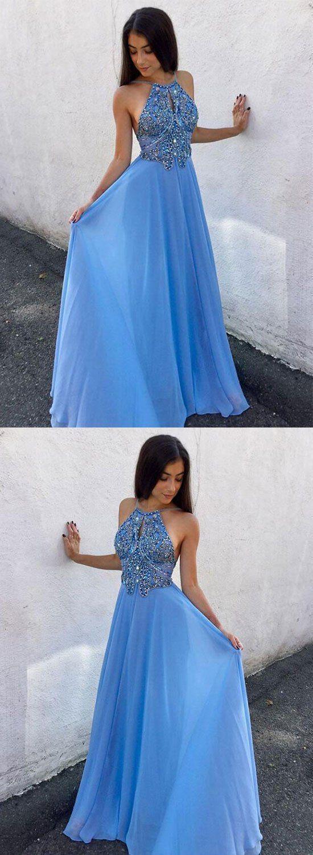 Blue chiffon beaded long prom dress, backless evening dress #eveningdresses