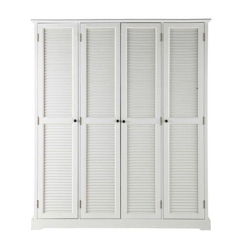 Kleiderschrank 4 Türen, weiß | Kleiderschränke, Holz und Möbel