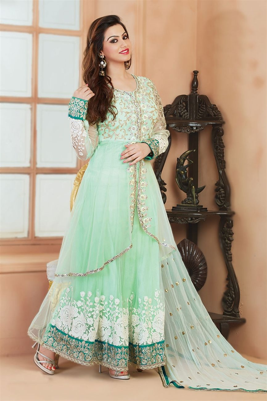This charming pastel colour salwar kameez suit has a touch of ...