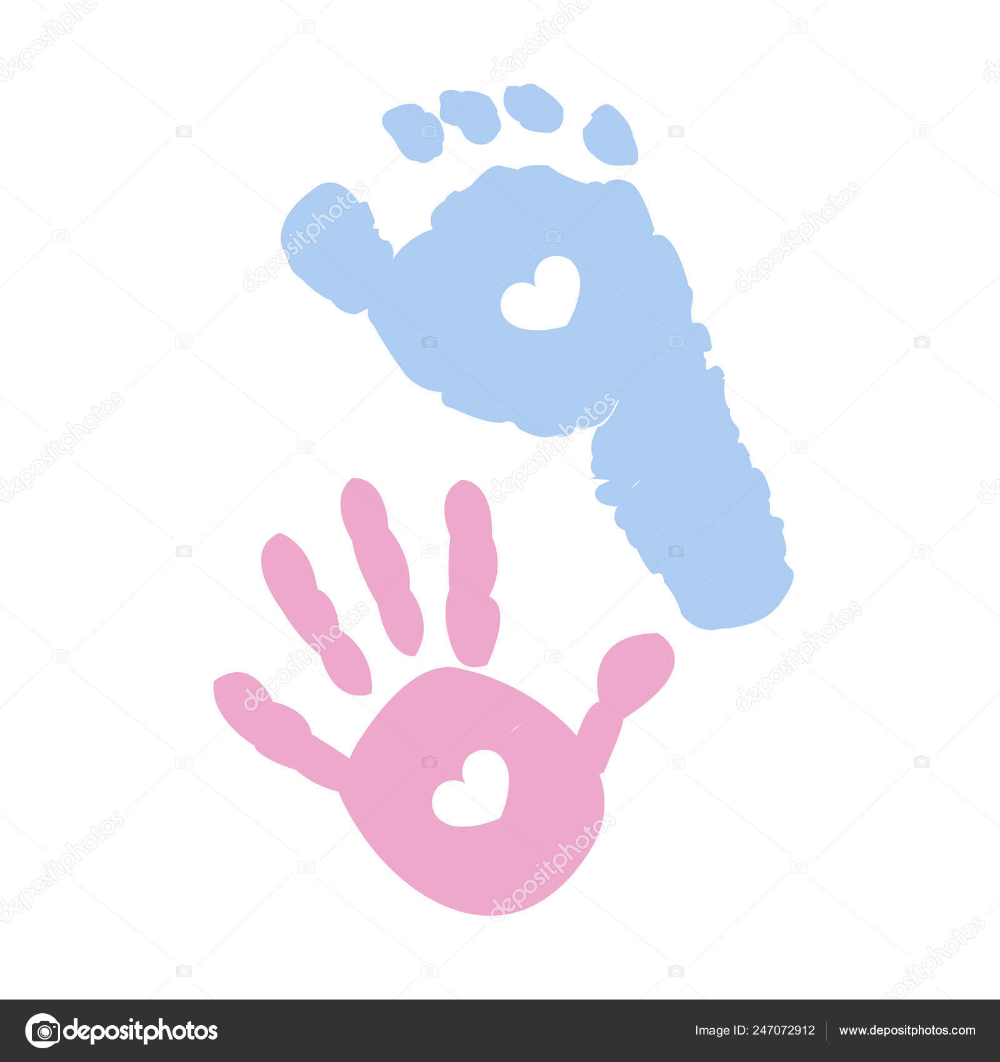 Foot Baby Hand Prints Blue Pink Colored Huellas Creatividad Educacion