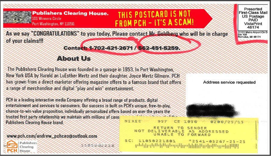 Is this postcard from PCH | My PCH Favorite's | Publisher clearing