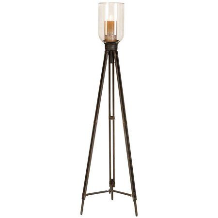 Decmode Metal and Glass Candleholder, Multi Color, Multicolor