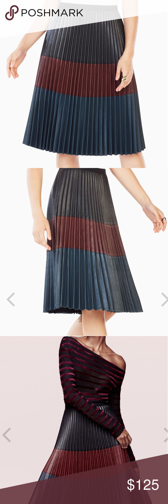 9b59db7631 BCBG MAX AZRIA ELSA PLEATED SKIRT SIZE SIZE SMALL This calf-skimming skirt  is crafted
