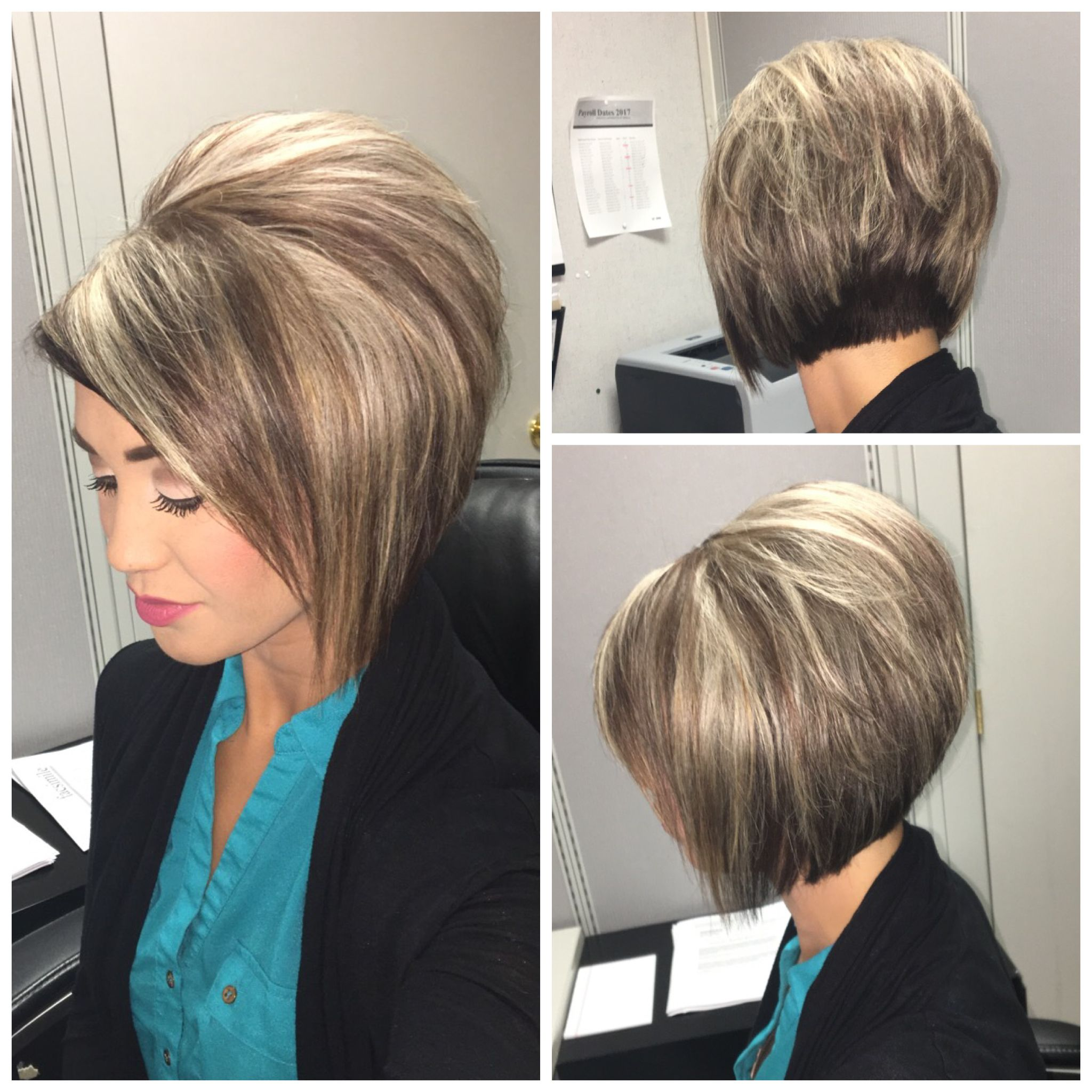 Stacked bob haircut with blonde highlights on dark hair