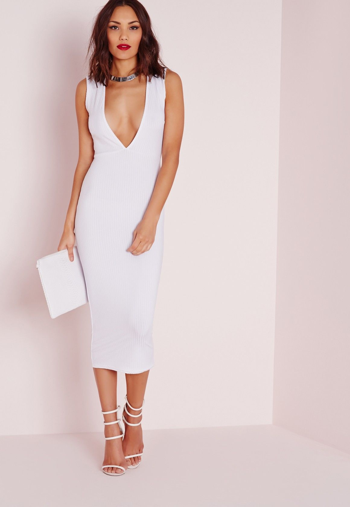 d7799b6ca54b Missguided - Plunge Ribbed Midi Dress White    i dont want a big wedding. I  need a court house wedding with this dress